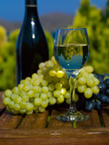 The glass of white wine, the bottle and grapes on wooden table