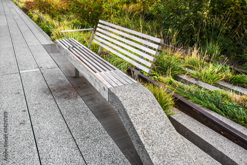Bench seen along The High Line Park in New York City Poster