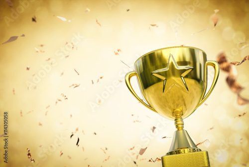 gold star trophy on gold glitter background