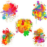 Abstract colorful splash backgrounds, banners - 114307601