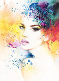 abstract woman portrait. watercolor illustration  - 114312407