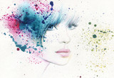 abstract woman portrait. watercolor illustration  - 114312425