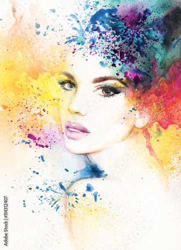 abstract woman portrait. watercolor illustration