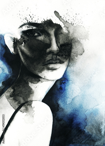 abstract woman portrait. watercolor illustration  - 114312853