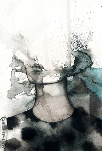 abstract woman portrait. watercolor illustration  - 114312872