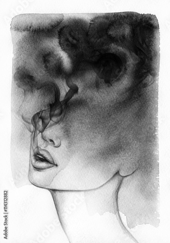 abstract woman portrait. watercolor illustration  - 114312882