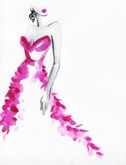 abstract woman with elegant dress. watercolor illustration  © Anna Ismagilova