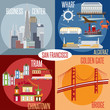 Flat design vectors of landmarks of San Francisco California,USA