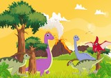 Cute cartoon dinosaur with volcano background