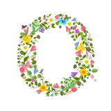 ornate capital letter font consisting of the spring flowers and