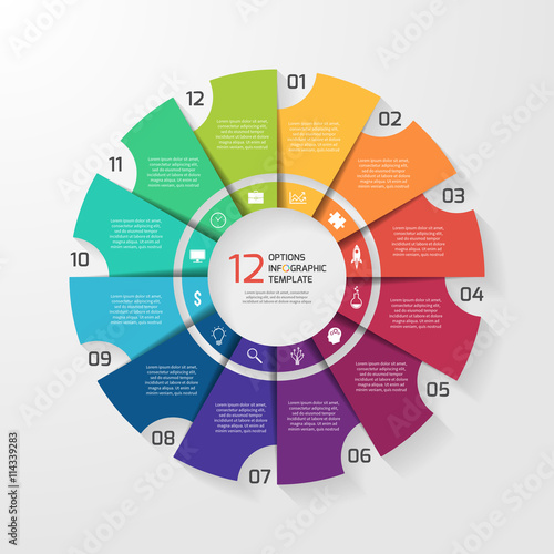 Vector circle infographic template for graphs charts diagrams pie vector circle infographic template for graphs charts diagrams pie chart concept with 12 ccuart Image collections