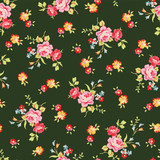 Seamless floral pattern with little pink roses, on black background. - 114353456