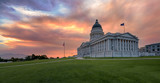 Sunset at the Utah State Capitol building on Capitol Hill in Salt Lake City
