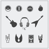 Fototapety Vector illustration icons set of Rock'n'Roll.