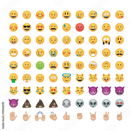 Set of  emoticon vector isolated on black background. Emoji vector. Smile icon set. Emoticon icon web.
