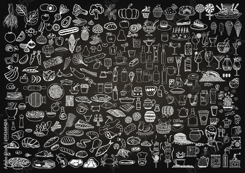 Fototapety, obrazy : Set of food and drinks doodle on chalkboard background.