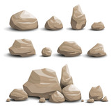 Vector Illustration of Cartoon Game Art Rocks and Stones - 114369212