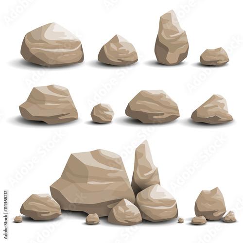 Vector Illustration of Cartoon Game Art Rocks and Stones