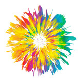 Abstract color splash and isolated flower illustration. - 114371603