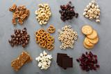 Fototapety Variety of healthy snacks overhead shot