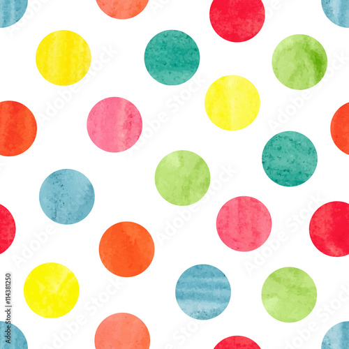Cotton fabric Watercolor colorful polka dot seamless pattern. Vector illustration of colorful  dots isolated on white. Circles background.