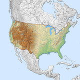 Relief map of United States