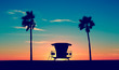 Quadro Vintage Lifeguard Tower - Vintage Lifeguard Tower on Beach at sunset in San Diego, California