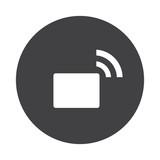 White Transmitter icon on black button isolated on white