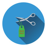 Scissors cut old price tag icon