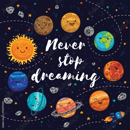 Fototapeta Never stop dreaming. Motivation vector illustration