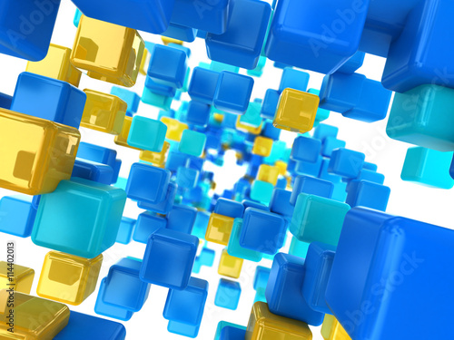 Naklejka cubes tunnel