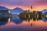 Fototapety beautiful, multicolored sunrise over an alpine lake Bled in Slovenia