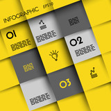 yellow infographic squares with icons