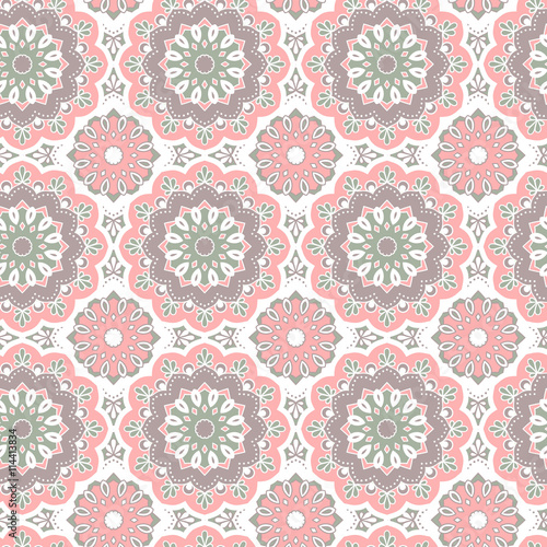 Seamless hand drawn mandala pattern. Vintage decorative elements. Islam, arabic, indian, turkish, ottoman motifs. For printing on fabric or paper. Vector illustration. - 114413834
