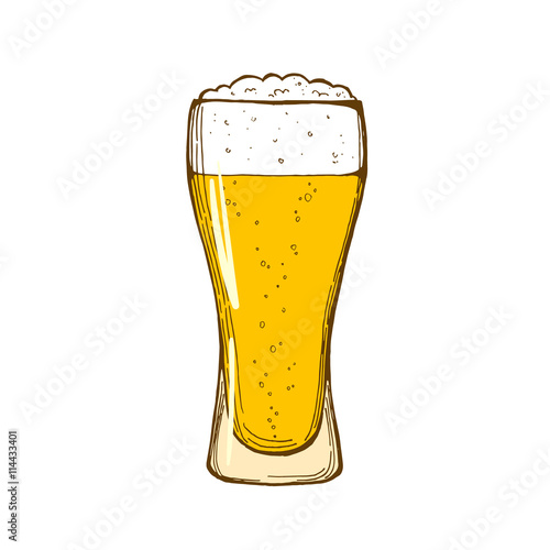Poster Glass of beer isolated on white background, hand-drawing. Vector.