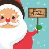 Santa cartoon icon. Merry Christmas. Vector graphic
