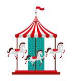 carousel horses isolated icon design