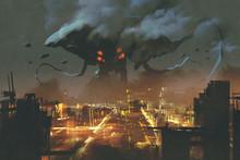 "Постер, картина, фотообои ""sci-fi scene,Alien monster invading night city, illustation painting"""