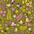 nature seamless pattern with cute birds flowers stars