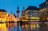 Fototapety Marienplatz at night in Munich, Germany