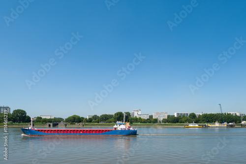 Fotobehang Antwerpen Belgium, Antwerp, boat on the Scheldt