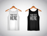 Men black and white tank top. Realistic mockup whit brand text f