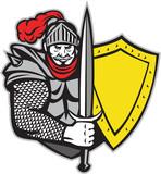 Knight Full Armor Open Visor Sword Shield Retro