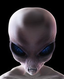 Grey alien with stars in his eyes isolated on black