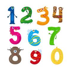 Monster numbers. Vector funny children numbers vector