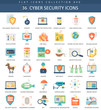 Vector Cyber security flat icon set. Elegant style design.