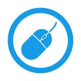 Icono plano mouse en ordenador en circulo color azul