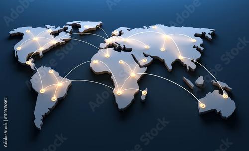 Aluminium Wereldkaarten Weltkarte mit vernetzten Länder