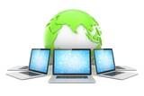 Laptop network around earth globe. 3d render