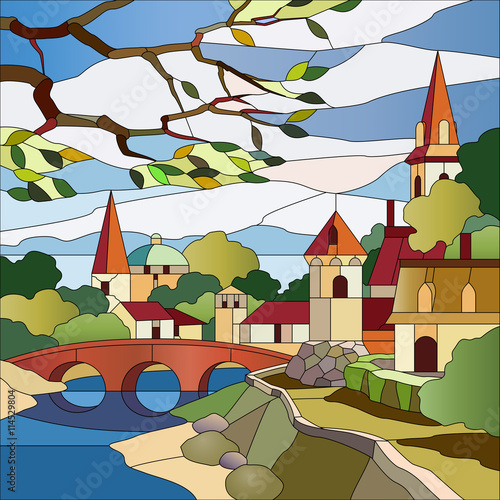Naklejka Stained glass window with the landscape